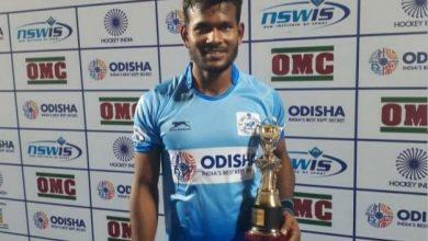 Photo of Amit Rohidas honoured with Biju Patnaik Sports Award